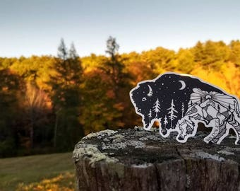 "Night and Day Bison Buffalo sticker 4"" Weatherproof and durable, Outdoor sticker, Travel sticker, Wanderlust, Galaxy, Moon sticker"