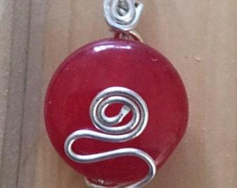 Red Translucent Stone Pendant