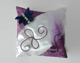 Butterfly purple and white wedding ring cushion