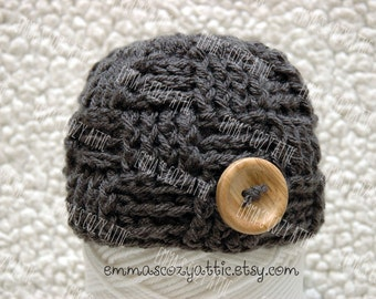 Baby boy newborn hat photography prop basketweave checker beanie in charcoal grey infant boy photo prop baby boy beanie - MADE TO ORDER