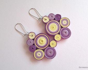 Purple Quilling Earrings, Geometric Dangle Earrings, Statement Paper Earrings, Quilling Jewelry