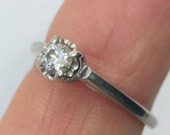 vintage 14k white gold diamond engagement ring, size 5.5