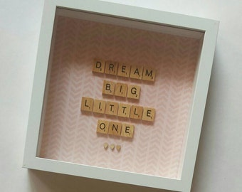 Personalised Scrabble Frame Wall Art Artwork Gift Present Nursery Decor Girl Kid Birthday