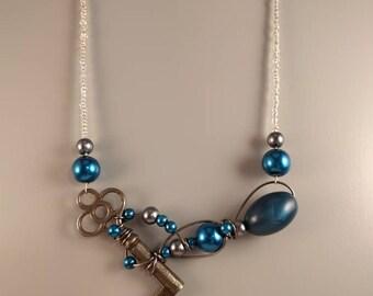 Blue skeleton key necklace