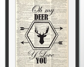 Deer in hipster style, hipster frame, Quote Wall Art, Wall Decor, Poster Painting, Deer gift poster