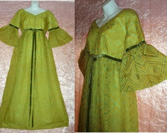 SALE! 1960s Vintage Maxi Dress Renaissance San Francisco Forest Fairy Lorrie Deb Green Floor Length Belled Sleeves Hippie Festival M/L/Large