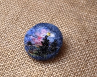 Felted brooch Sunset