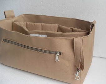 Purse organizer with Laptop Case fits LV Neverfull GM- Bag organizer insert in Sand fabric