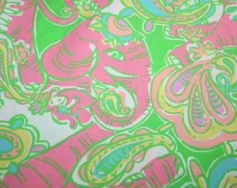 Lilly Pulitzer fabric ~PINK Sparkle CHIN CHIN~Elephant~ 100% cotton~Retired and Hard to Find