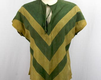 1970's Green Suede Leather Tunic Top