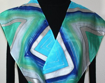 Blue, Teal, Turquoise Hand Painted Silk Scarf PERFECT SKIES, in Several  SIZES. Birthday Gift, Anniversary Gift, Bridesmaid Gift.