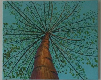 Bottoms Up. View of tropical tree from the ground looking up. Original artwork.