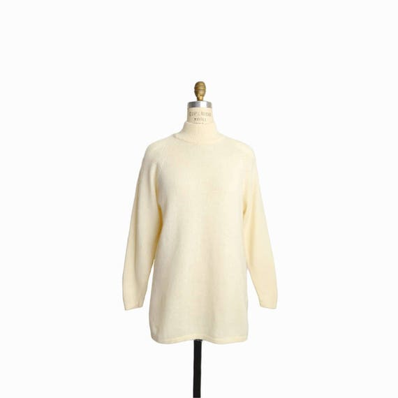 Vintage Ivory Mock Neck Tunic Sweater / Wool Angora Sweater in Cream - women's small