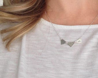 Hammered Triangle Necklace - - Handmade - - Sterling Silver Jewelry