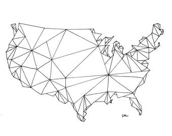 USA Geometric Map Print