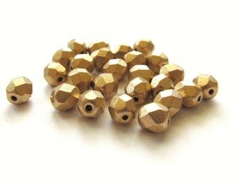 Matte Metallic Gold Czech Glass Faceted Round Beads, 6mm - 25 pieces