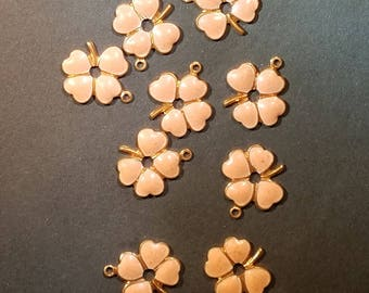 Vintage Enamel and Brass Clover Flower Charms 1920s