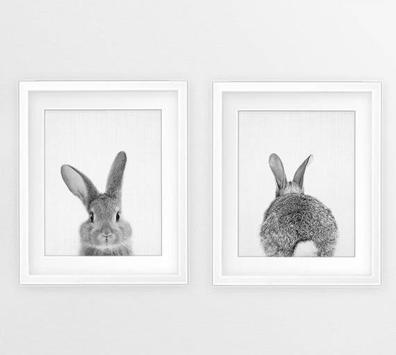 Bunny print set woodlands animal wall art nursery black and white rabbit butt tail print baby animals kids room decor digital printable