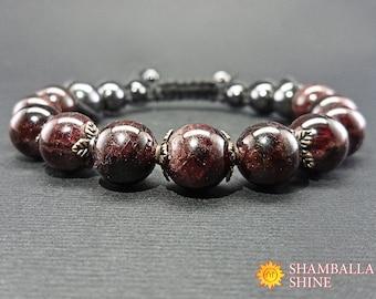 Coworker gift Garnet bracelet Love energy Beaded bracelet Balance  Boho Chic Yoga Bracelet Gemstone bracelet Garnet Jewelry Shamballa