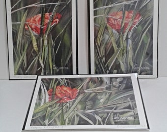"""Three Poppy  5"""" x 7"""" Limited Edition Giclee Prints - Poppy Delight - Set of 3 textural original red poppy green leaves art prints"""