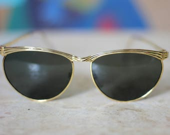 Gold Oval Cateye 80's Sunglasses