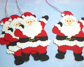 4 Large Santa Die Cut Father Christmas Gift Tags Handmade Paper Pieced Luxury Christmas Gift Tags