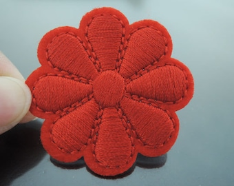 Red Flower Patch Flower patches Badge patch Applique embroidered patch Iron On Patch Sew On Patch