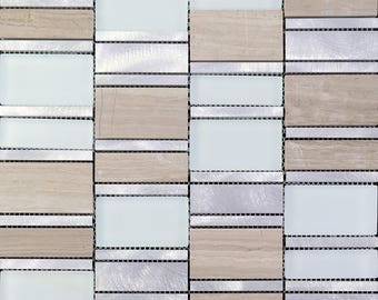 Stone and Glass Tile Brushed Aluminum Silver Metal Wall Tiles Hand Painted Marble Tile Backsplash