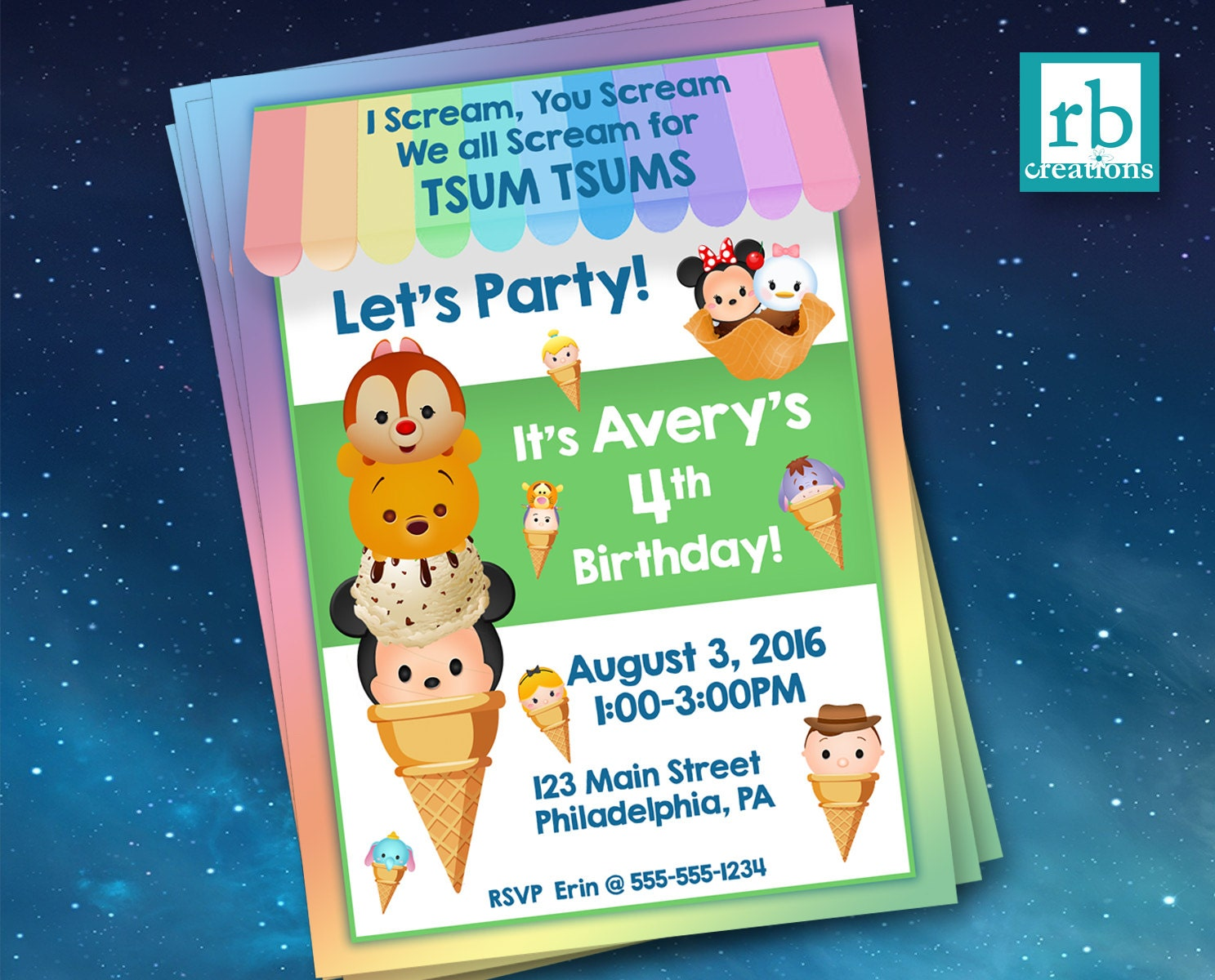 Ice Cream Invitations Tsum Tsum Invitations Ice Cream Party