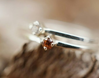 Cubic Zirconia Sterling Silver Dainty Stacker Ring (MADE-TO-ORDER)