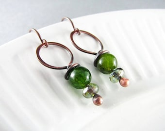 Wire Wrapped Earrings Green Agate Earrings Copper Earrings Wire Wrapped Jewelry Copper Wire Wrap Boho Chic Copper Jewelry Agate Jewelry