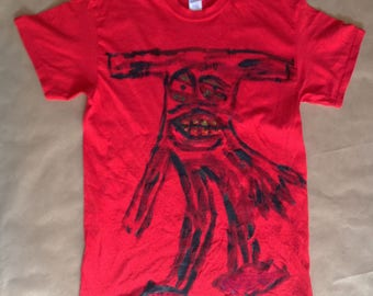Red Men's size Medium T Shirt with a Handprinted Slenderman on the front