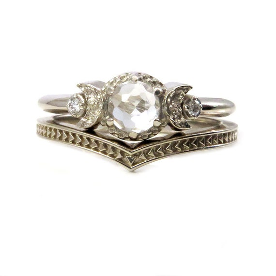 White Gold Moon Ring with Arrow Nesting Band - Rose Cut White Topaz and White Diamonds