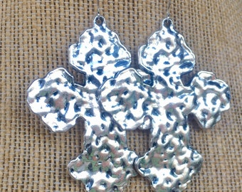 Large hammered cross earrings