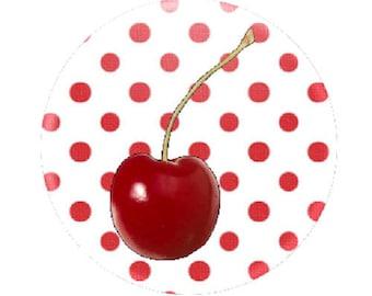Cherry cabochon on polka dots, 20mm