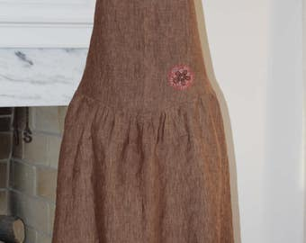 Women's Vintage Inspired Linen Apron, Brown