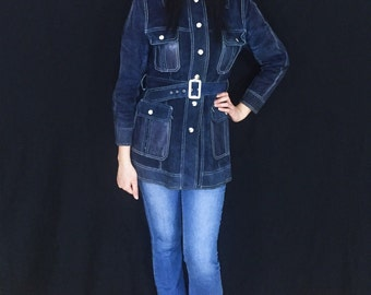 Vintage 60s 70s Blue Suede Belted Buckle Bohemian Mod Leather Jacket S // M
