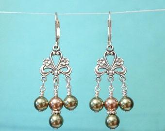 Swarovski Pearl Earrings, Chandelier Earrings, Sterling Silver Earrings, Pearl Earrings, Bridesmaid Gift, Silver Dangle, Dangle Earring