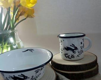 Spring-hand Painted enamel breakfastset Emaillebecher Enamel Cup bowl