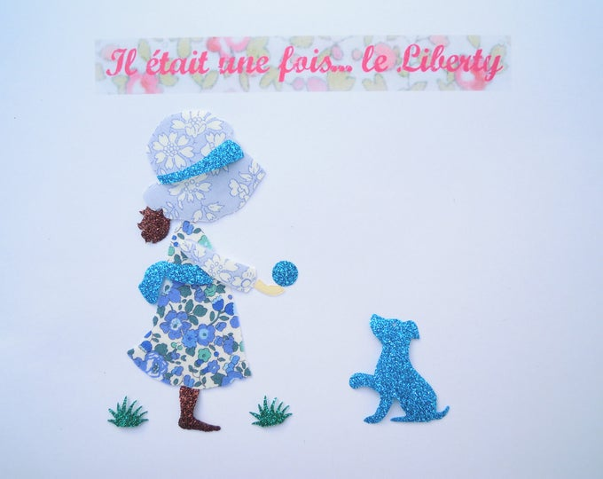 Applied fusible girl Sarah Kay and her dog fabric liberty Betsy Ann blue Capel blue fabric glitter patch iron-on style