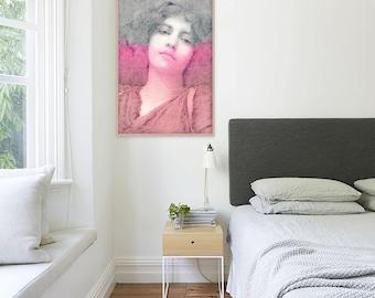 Abstract women art Abstract portrait painting Large pink Art Women portrait art Bedroom wall art Women art print Female art print Mela Fay