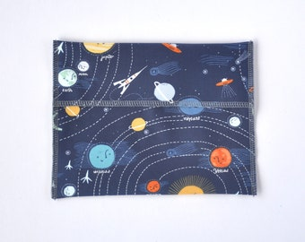 Reusable sandwich and snack bag, outer space fabric, eco-friendly school lunch