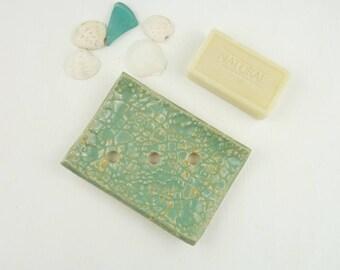 soap dish, ceramic soap dish drain mint green, bathroom soap holder, draining soap saver rest bowl