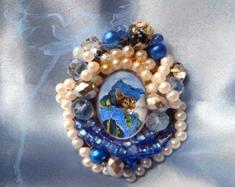 Brooch baroque or pendant with cat: Venetian at the edge of the lagoon