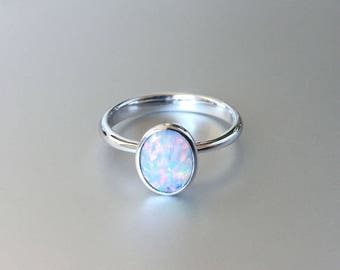 Dainty white gold opal ring for women, 18k stackable jewellery with birth stone, 9ct 14k custom opal engagement ring with october birthstone