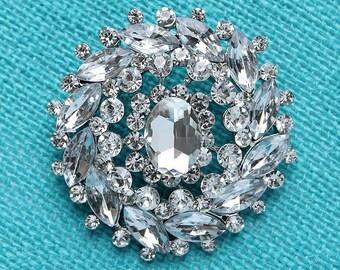 Silver Rhinestone Brooch, Wedding Brooch, Crystal Rhinestone Brooches, Bridal Brooch, Cake Brooch Decor, Bouquet Brooches, Wedding Brooches