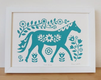 Horse Wall Art / Horse Print / Horse Gifts  / Horse Gifts For Women / Teal Horse / Horse Gift For Her / Horse Art / Horse Decor / Fran Wood