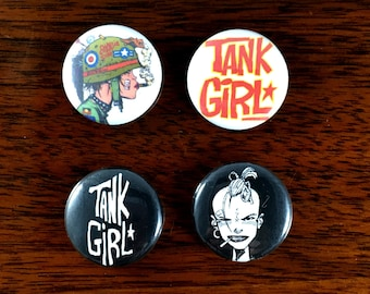 Tank Girl Iconic 1' Pin Back Button and Magnet Set of 4