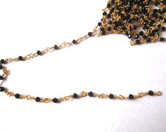 Rosary chain 50cm black quartz beads