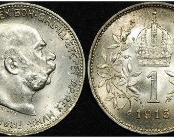 Rare Original High Grade WW1 Dated AUSTRO-HUNGARIAN EMPIRE Crown (Corona) Almost Uncirculated! Buy 2 Also Get 1890's w Laurel Crown!